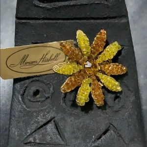 Miriam Haskell Signed Beaded Flower Brooch